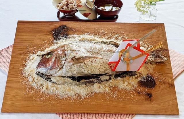 お食い初め飾り付き お祝い寶鯛の塩釜作りセット