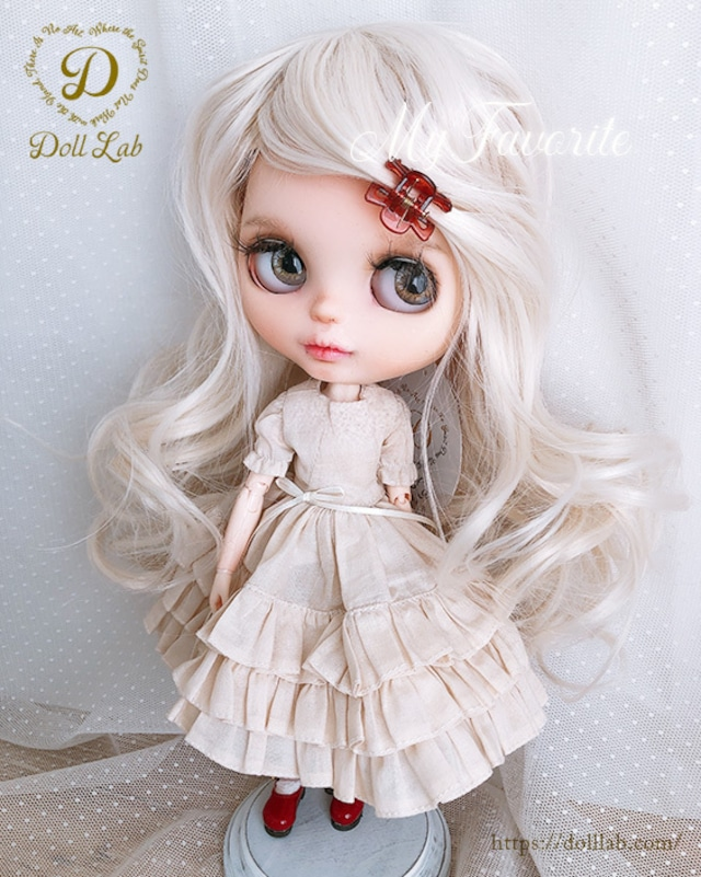 DWL014-A012-10inアリスシフォン[10inch]象牙色 髪なしブライス ドール ウィッグ