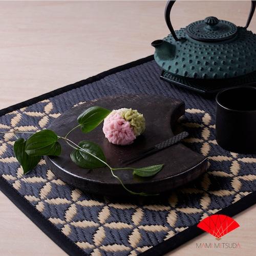 【花ござテーブルマット】七宝・縁色ブラック
