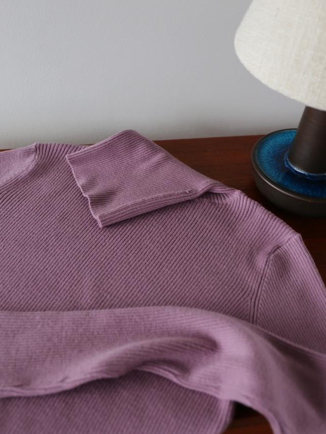 color rib turtle knit(purple)