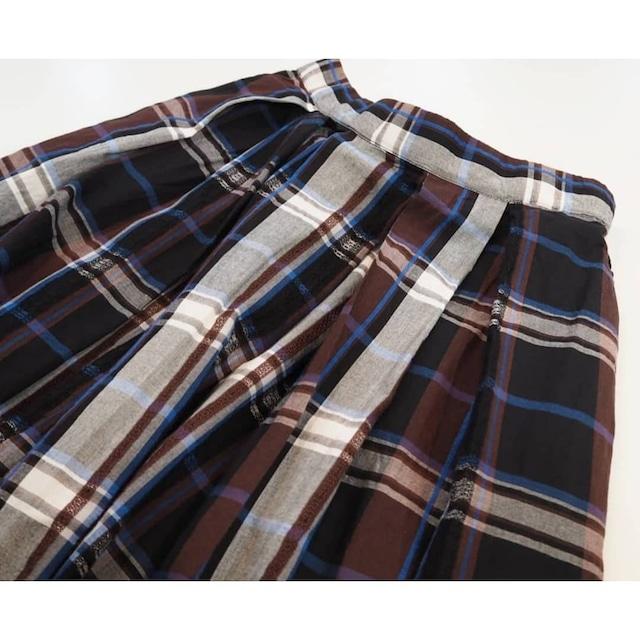 【SALE】check&lace long skirt  <black×brown>