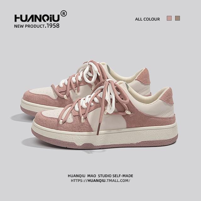 【海貓シリーズ】★スニーカー★ 2color ピンクorブラウン スポーツ靴 シューズ カジュアル サイズ35-40