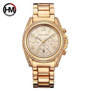 女性ローズゴールドトップラグジュアリーブランドダイヤモンドラインストーンドレスレディース腕時計カレンダー防水ファッションカジュアル腕時計1107 Gold