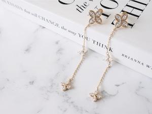 long  flower chain pierce/gold,silver