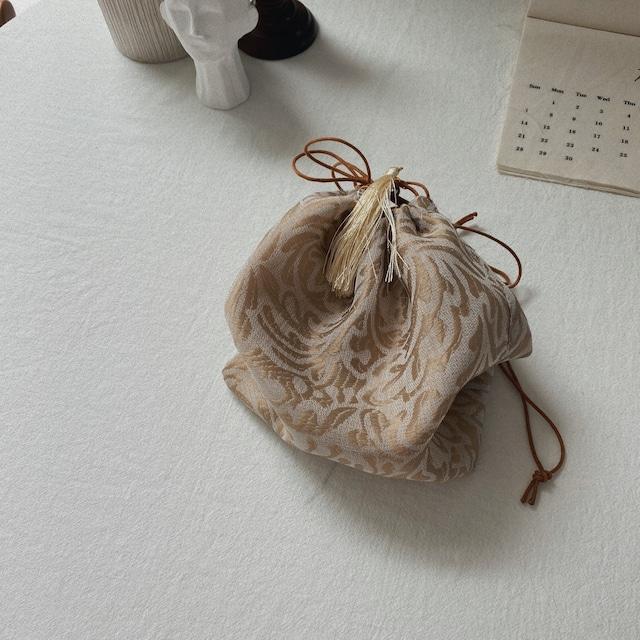 タッセル巾着bag/ゴールド