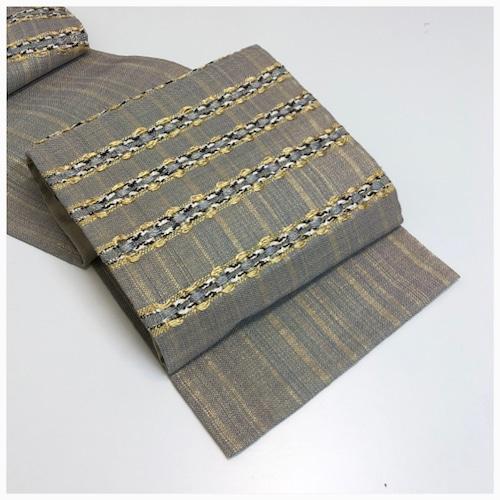 ★ 美品 袋帯 変わり織 正絹 シルバー 銀彩 ★ 3181
