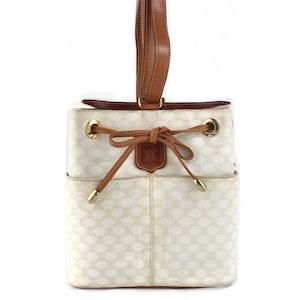 CELINE セリーヌ マカダム ブラゾン型押し 巾着 ショルダーバッグ ワンハンドル  vintage ヴィンテージ オールドセリーヌ ホワイト fh3ef2