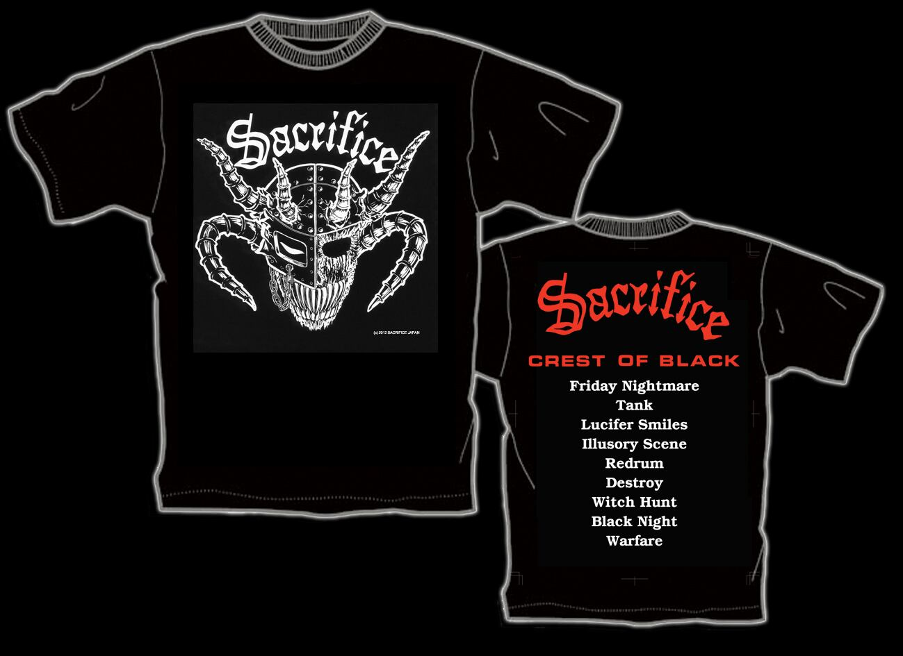 "SACRIFICE ""Crest Of Black"" Tシャツ(back: 赤)"