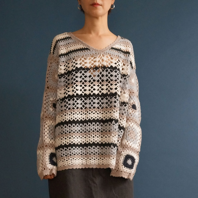 【送料無料】70's VintageStripped Crochet Jumper