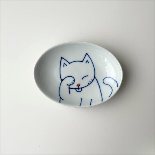 【在庫限り・伊万里焼】ねこ 楕円皿(洗)