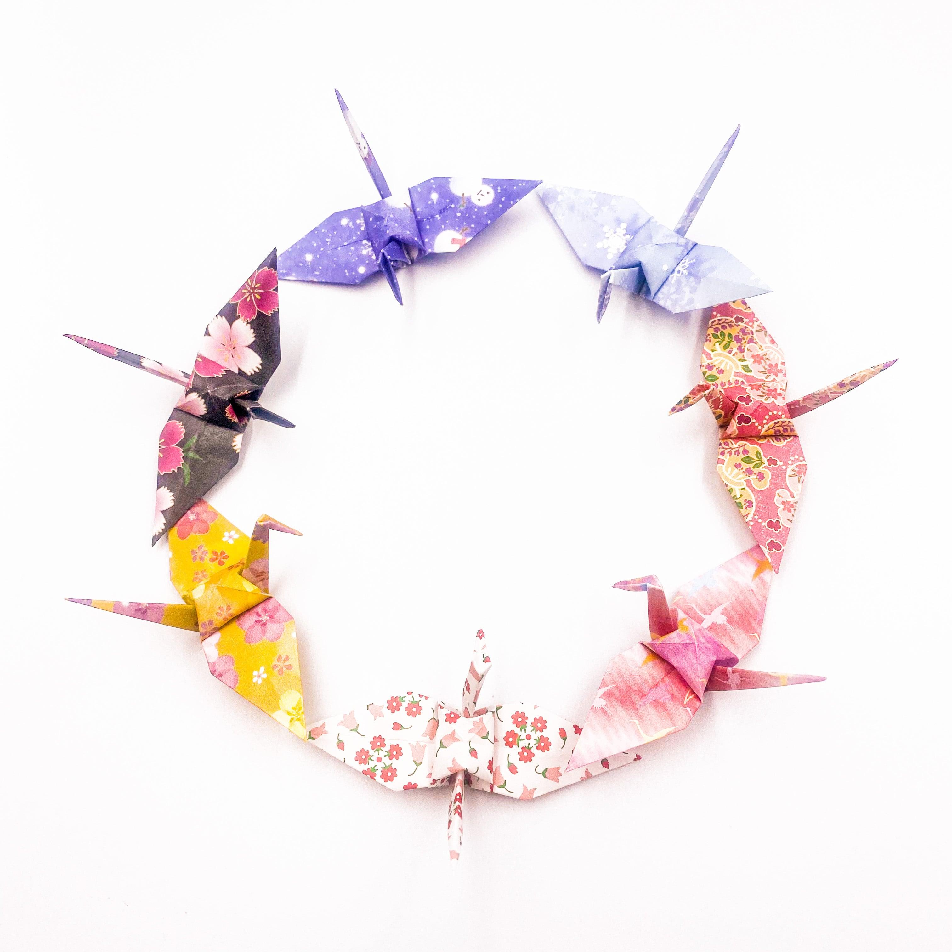 四季折々、皆で囲む100柄の折り鶴(神前式、和装婚折り鶴シャワー演出・和風撮影小物)400羽入り