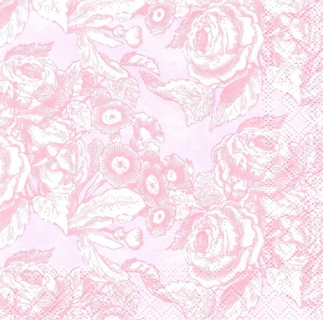 イギリス【Talking Tables】バラ売り1枚 カクテルサイズ ペーパーナプキン PARTY PORCELAIN ROSE ピンク
