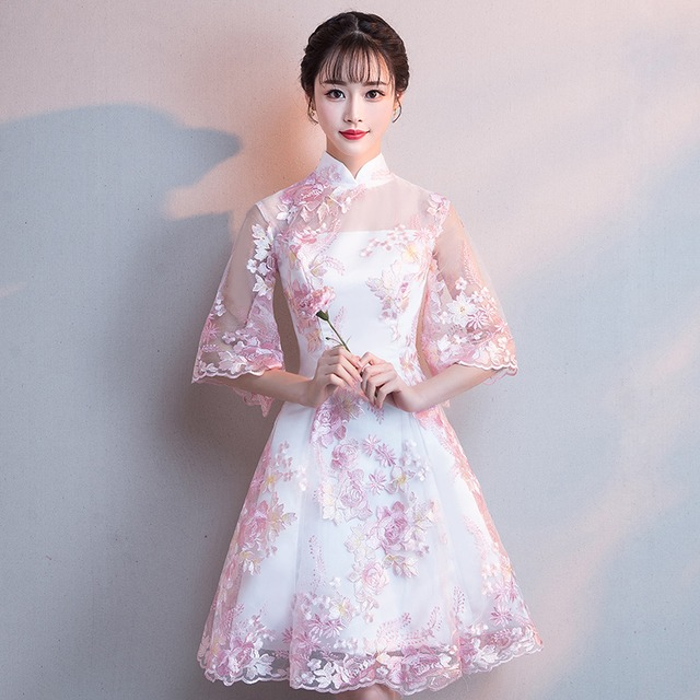 ショートチャイナドレス 刺繍チャイナドレス チャイナ風ワンピース パーティードレス 五分袖 大きいサイズ XS S M L LL 3L チャイナ風服 二次会 入園式 卒業式 女子会 同窓会 白 ピンク