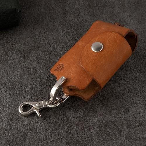 ホックキーケース スマートキー対応 | ギフト 革婚式 イタリアンレザー キャメル