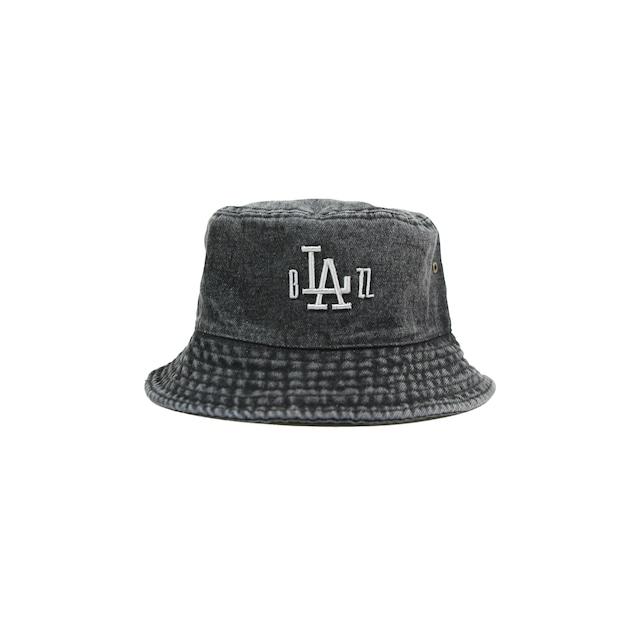 "b""LA""zz 3D DENIM BUCKET HAT [BLACK x SILVER]"