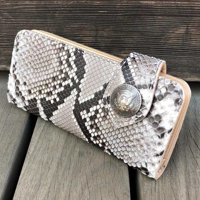 長財布/サイフ ロングウォレット ダイヤモンドパイソン 手縫い 10枚カードポケット ヌメ革 バイカーズウォレット KLW002-PY LEVEL7