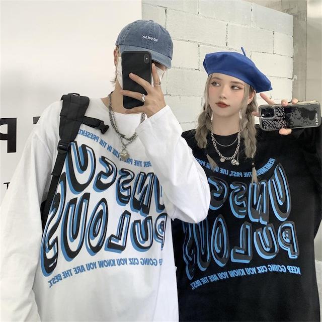 【トップス】ストリートカップルファッションルーズプリントTシャツ