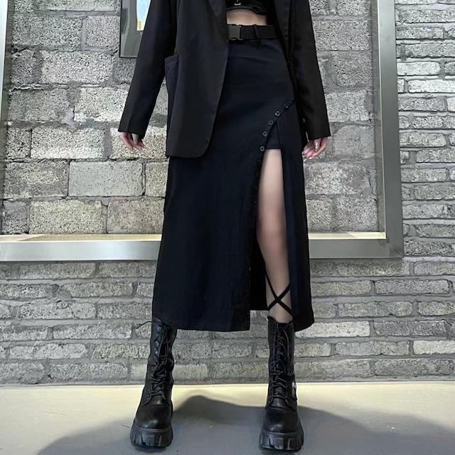 【都谷シリーズ】★スカート★ ボトムス 不規則 ロング丈 かっこいい 着痩せ スリット ブラック 黒い S M L