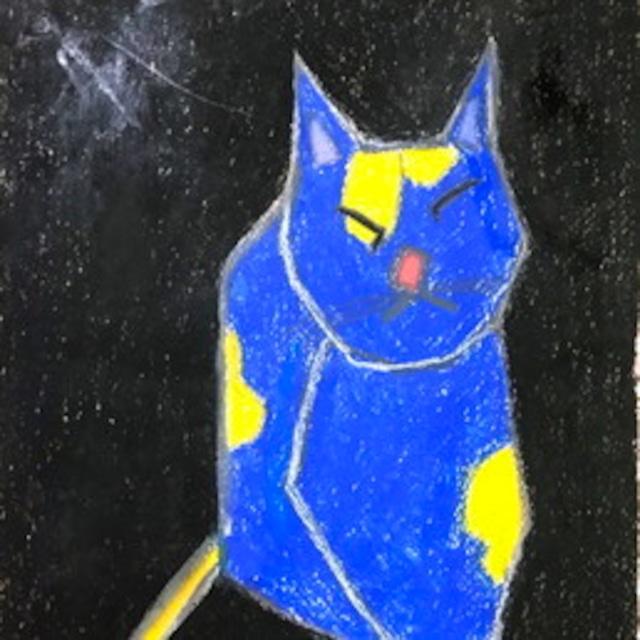 絵画 絵 ピクチャー 縁起画 モダン シェアハウス アートパネル アート art 14cm×14cm 一人暮らし 送料無料 インテリア 雑貨 壁掛け 置物 おしゃれ 現代アート 抽象画 猫 動物 ロココロ 画家 : Mitsuo Ito 作品 : a cat