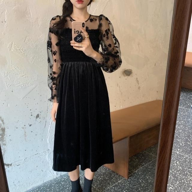 レディース ロングワンピ ファッション ロングワンピース  長袖  透け感 フェミニン 大人 上品 秋 冬 黒 ブラック