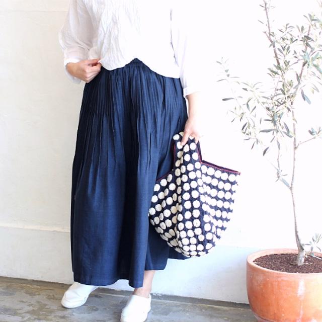 SALE★やわらか手織りコットンピンタックスカート