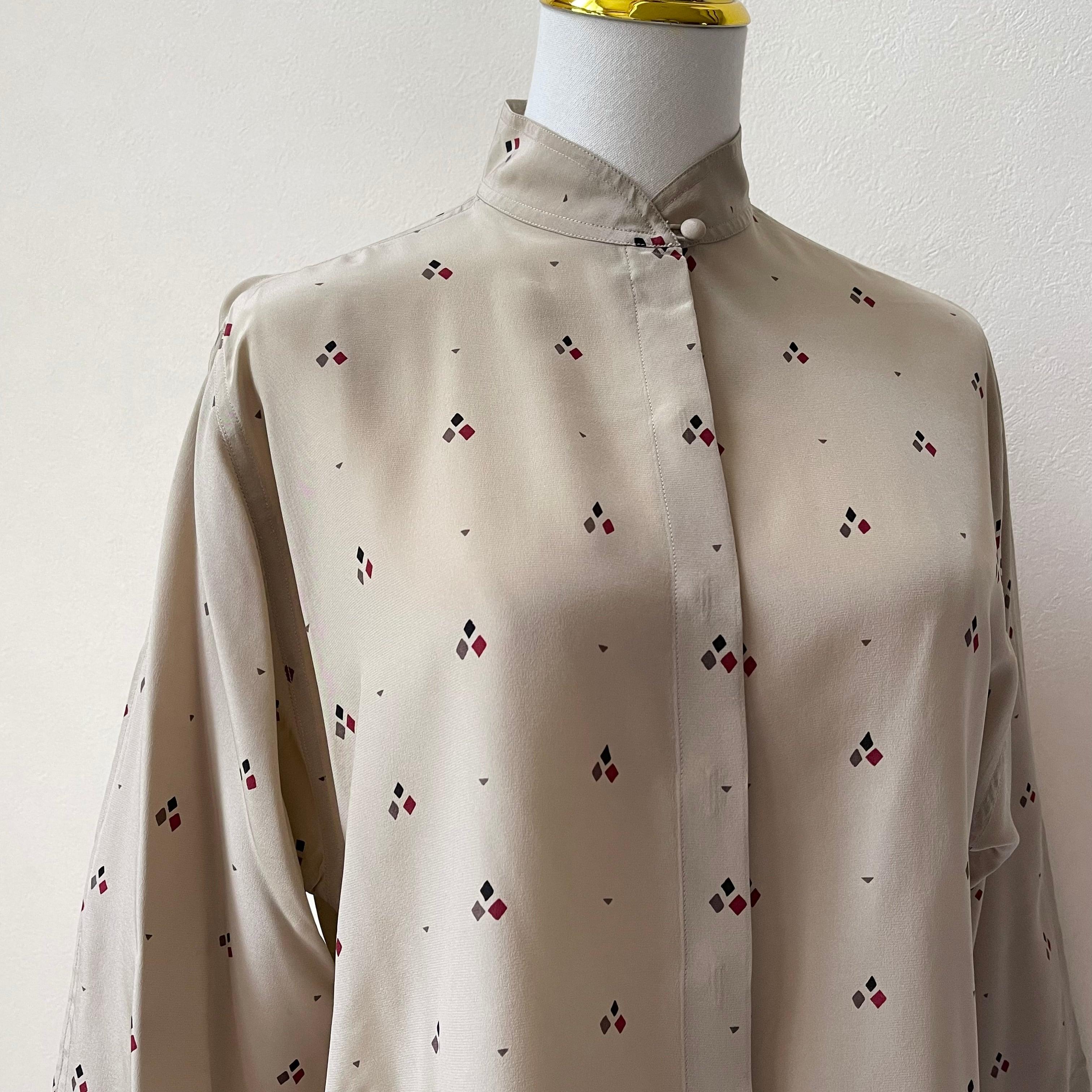 クリスチャンディオール Christian Dior シルク プリント柄 ブラウス 80年代 ヴィンテージ古着