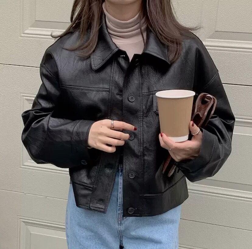 pu leather coat 2color