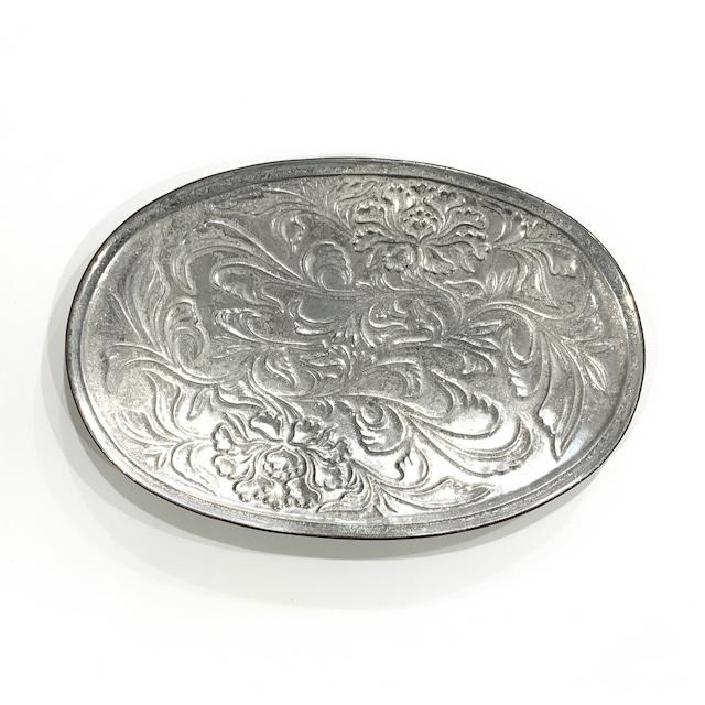 銀塗  花唐草彫楕円皿 27cm