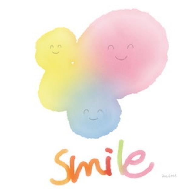絵画 絵 ピクチャー 縁起画 モダン シェアハウス アートパネル アート art 14cm×14cm 一人暮らし 送料無料 インテリア 雑貨 壁掛け 置物 おしゃれ ハッピー 幸せ 笑顔 ロココロ 画家 : MINI 作品 : HAPPY SMILE