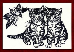 切り絵ポストカードno021 双子の兄弟猫(E-4-02621)