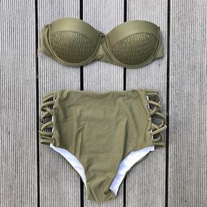 Bikini♡カーキワイヤーバンドゥハイウエストビキニ