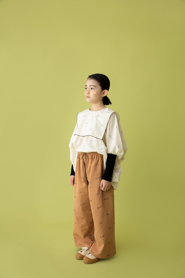 【21AW】folkmade(フォークメイド)  embroidery rogo sailor シャツ palebeige×black(S/M)