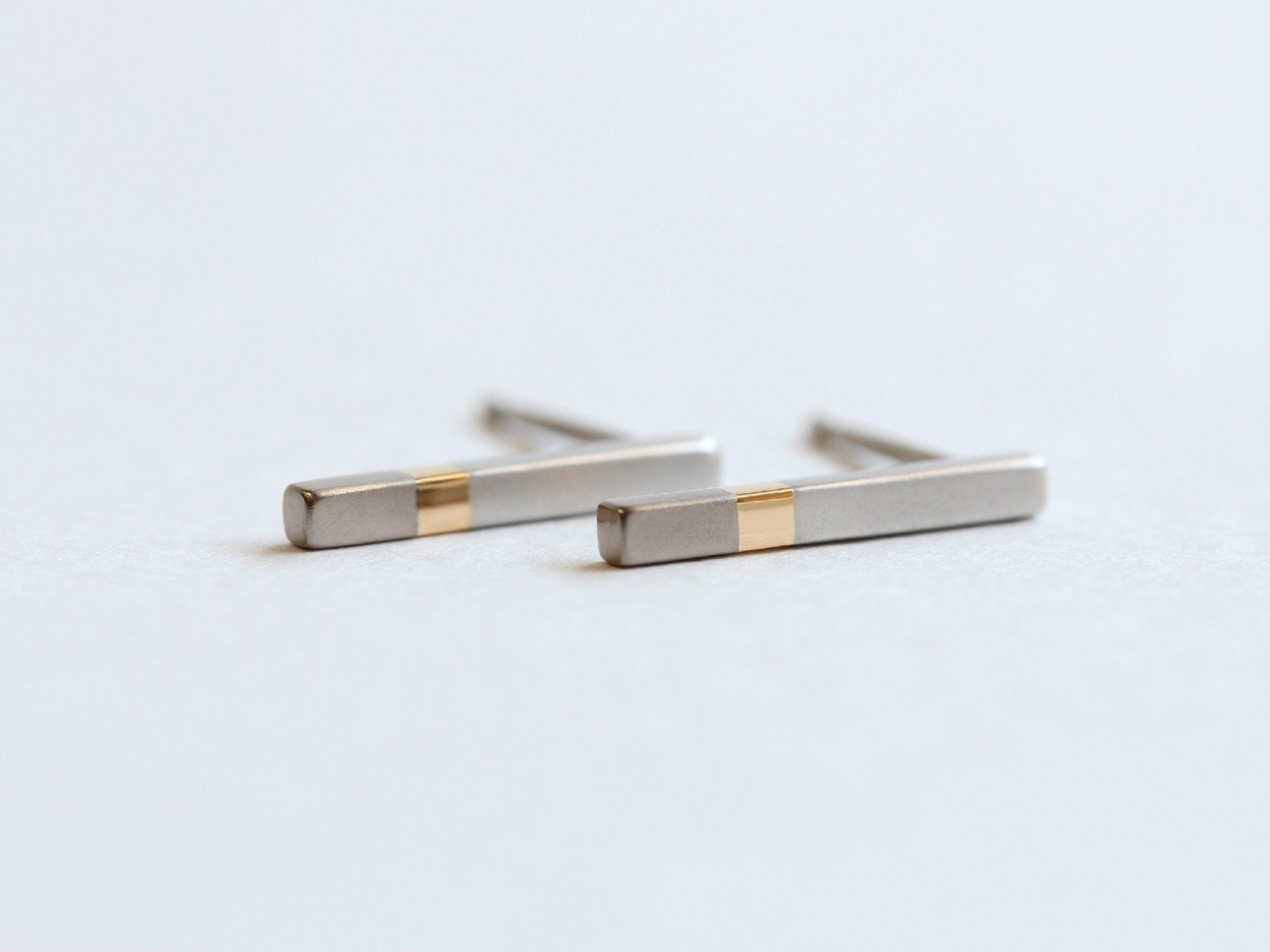Pt900×K18YG×K18WG/ratio3 stick pierced earrings