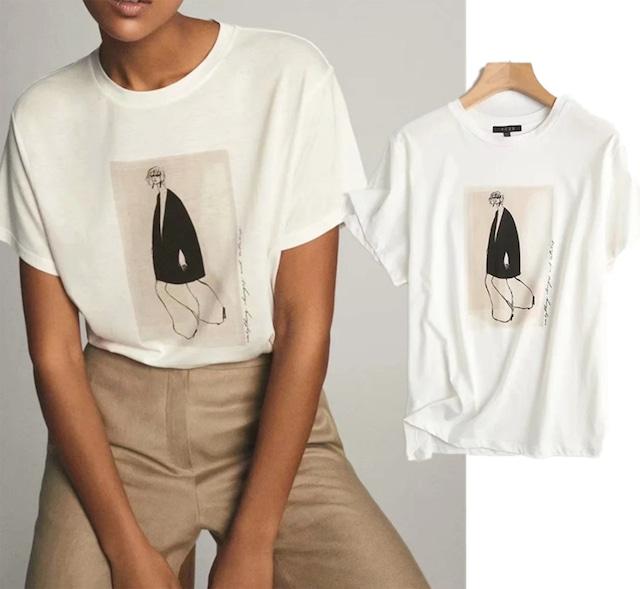 モードデザインプリントホワイトコットンTシャツ