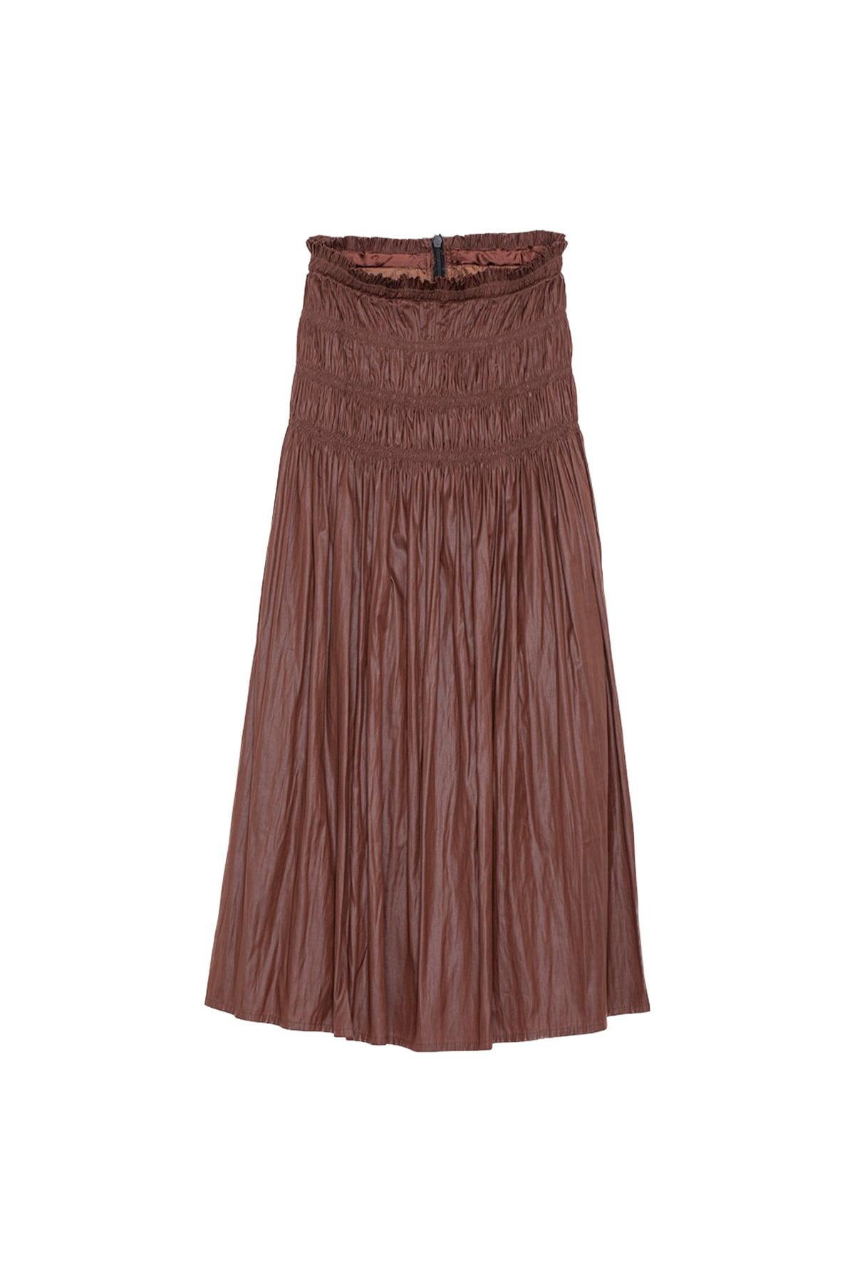 ワッシャーサテンスカート< brown >