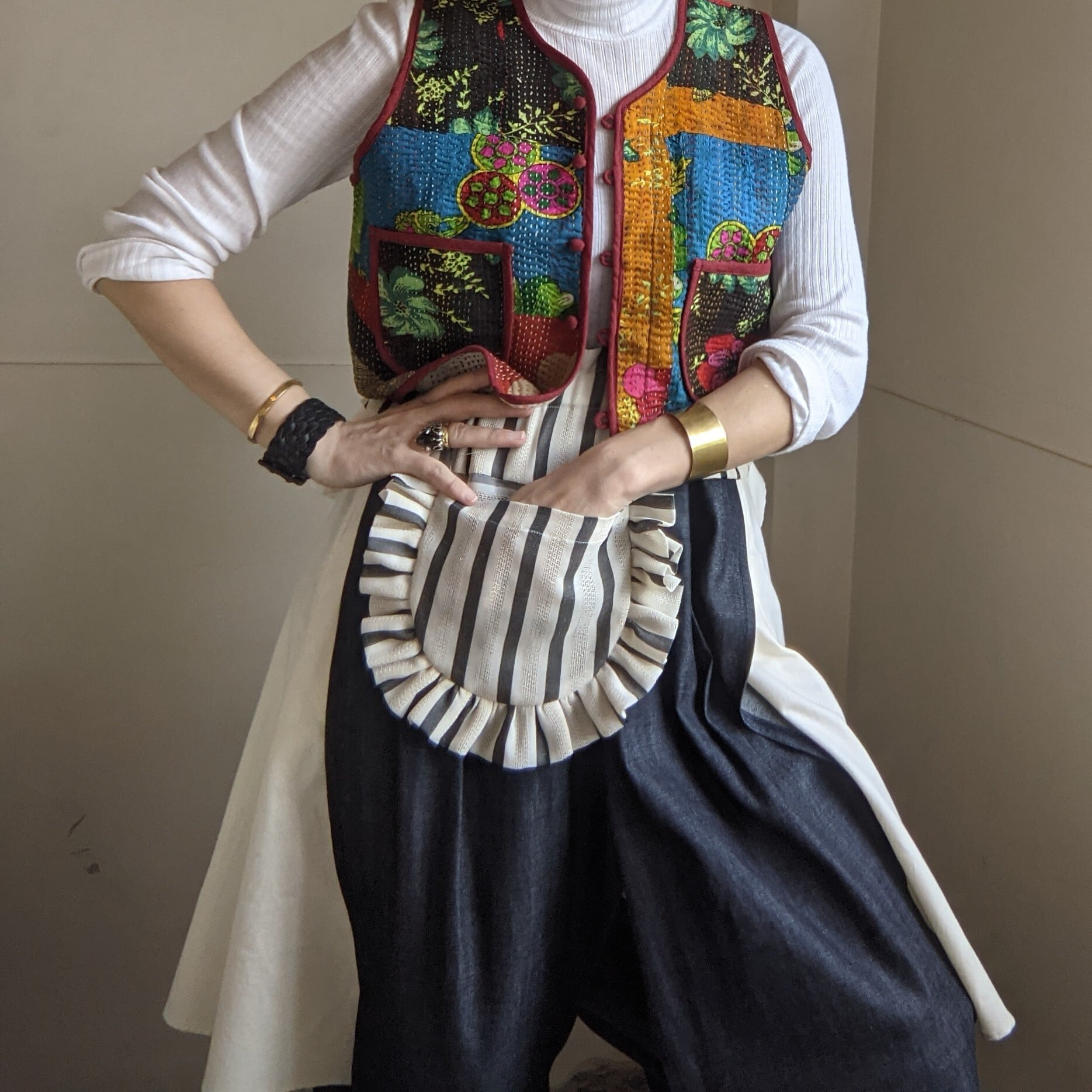 【 HOUGA 】ホウガ / emily bib pocket / white×black / ウエストベルト / ポケット