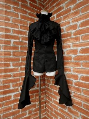 フリルブラウス王子姫袖ジャボタイ付き背面スピンドル黒