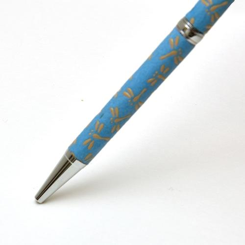 印伝油性ボールペン とんぼ 青革×白漆