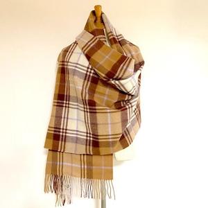 【TWEEDMILL】Lambswool Blanket Stole with Pin(Knee Rug) Tartan Lavender Check