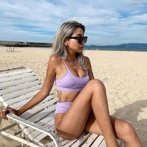 Bikini♡パステルリブハイウエストビキニ パープル