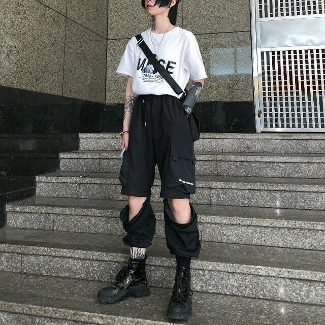 【ボトムス】ストリート系人気&個性派「二種類の着方」ショート&ロングパンツ30327043