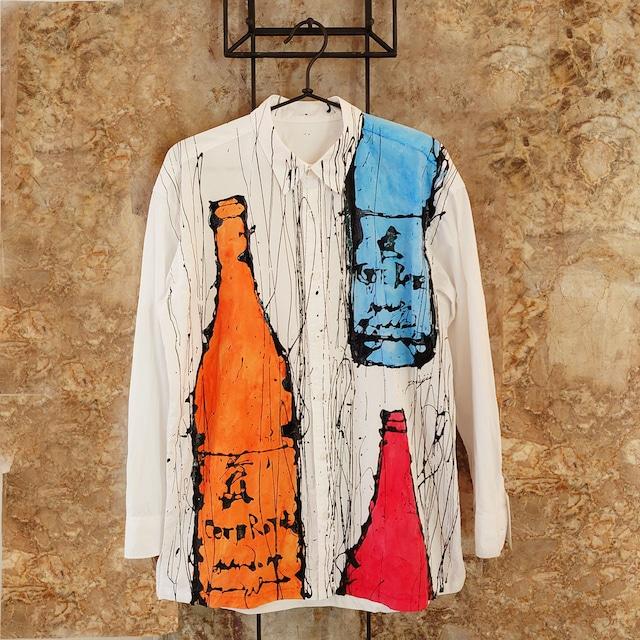 F's bottle【 藤井清秀  シャツアート】ブルー+レッド⁺オレンジボトル M B-8