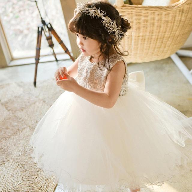 子どもドレス 子供ドレス キッズドレス 子供服装 演出装 舞台装 女の子 子供ワンピース ラウンドネック ノースリーブ 80 90 100 110 120 130 140 150 160 プレゼント 誕生日 レース ホワイト 白い