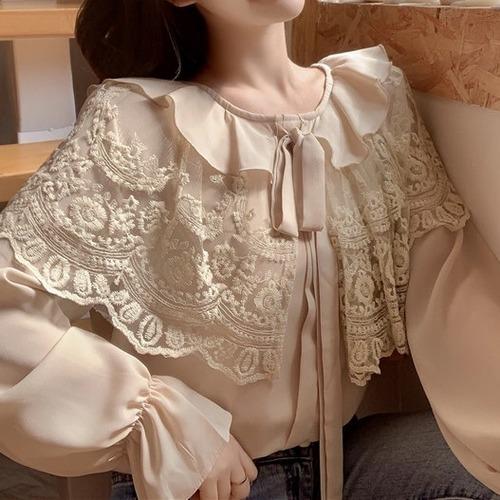 2色/フレア袖ケープ襟リボンブラウス ・18529