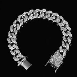 Iced Out Cuban Link Bracelet【SILVER】