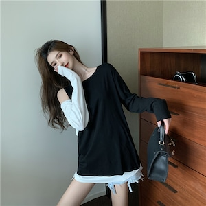 ファッション 高級感溢れた ラウンドネック 切り替え 配色 Tシャツ カットソー<ins-2346>