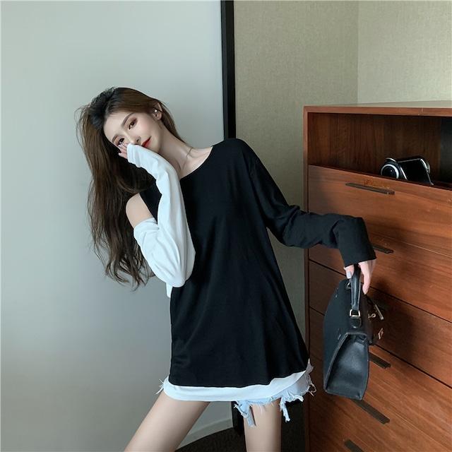 ファッション 高級感溢れた ラウンドネック 切り替え 配色 Tシャツ カットソー<ins-2346>}