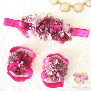 小花柄フラワー × パール&ビジュー ベアフットサンダル(フューシャピンク)ベビー用 足飾り