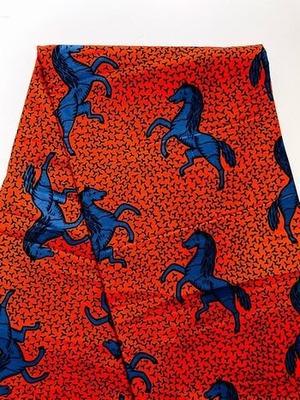 アフリカンファブリック日傘オーダー(赤地に青の馬)  Produce by MANGROVE