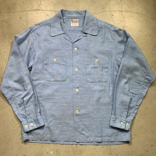 50~60's ENSENADA オープンカラーシャツ Winkle-SHED DAN RIVER 絣 ライトブルー ロカビリー 開襟シャツ 長袖 Mサイズ 希少 ヴィンテージ BA-1465 RM1884H